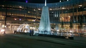 Firts Baptist fountains at night
