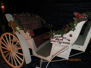 Merlot or Disco Carriage #6 Seats and Christmas Decorations and lights